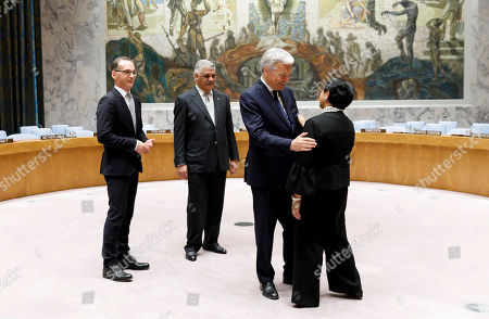 Stock Photo of (L-R) German Foreign Minister Heiko Maas, the Dominican Republic's Foreign Minister Miguel Vargas, Belgian Foreign Minister Didier Reynders and Indonesian Foreign Minister Retno Marsudi talk before a photo-op with South African Foreign Minister Maite Nkoana-Mashabane after being elected to the five non-permanent seats on the United Nations Security Council during voting in the United Nations General Assembly in New York, New York, USA, 08 June 2018. The Security Council has five non-permanent members who are elected by secret ballot each year.