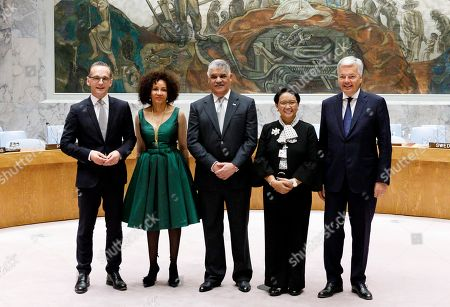 (L-R) German Foreign Minister Heiko Maas, South African Foreign Minister Maite Nkoana-Mashabane, the Dominican Republic's Foreign Minister Miguel Vargas, Indonesian Foreign Minister Retno Marsudi and Belgian Foreign Minister Didier Reynders gather for a photo-op after being elected to the five non-permanent seats on the United Nations Security Council during voting in the United Nations General Assembly in New York, New York, USA, 08 June 2018. The Security Council has five non-permanent members who are elected by secret ballot each year.