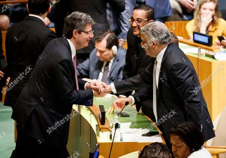 Dominican Republic Foreign Minister Miguel Vargas (R) is congratulated by French Ambassador to the United Nations Francois Delattre (L) after the Dominican Republic was elected to one of the five non-permanent seats on the United Nations Security Council during voting in the United Nations General Assembly in New York, New York, USA, 08 June 2018. The Security Council has five non-permanent members who are elected by secret ballot each year.