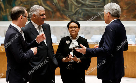 (L-R) German Foreign Minister Heiko Maas, Dominican Republic Foreign Minister Miguel Vargas, Indonesian Foreign Minister Retno Marsudi and Belgian Foreign Minister Didier Reynders talk before a photo-op with South African Foreign Minister Maite Nkoana-Mashabane after being elected to the five non-permanent seats on the United Nations Security Council during voting in the United Nations General Assembly in New York, New York, USA, 08 June 2018. The Security Council has five non-permanent members who are elected by secret ballot each year.