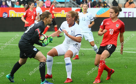 Finland's Tinja-Riikka Korpela (L) and Anna Westwelund (2-L) in action against Austria  Nina Burger (R) during the FIFA Women's World Cup 2019 Qualifying Round soccer match between Finland and Austria in Helsinki, Finland, 08 June 2018.