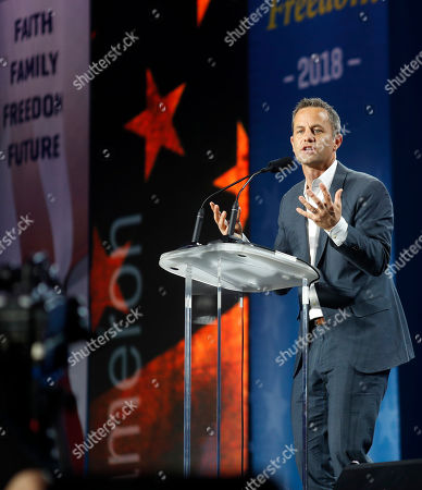 Actor Kirk Cameron makes a point as he speaks before U.S. Attorney General Jeff Sessions address at the Western Conservative Summit, in Denver