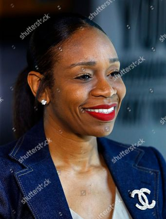 Tina Thompson is interviewed at the Women's Basketball Hall of Fame, in Knoxville, Tenn