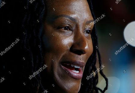 Stock Photo of Former University of Tennessee standout Chamique Holdsclaw speaks during an interview at the Women's Basketball Hall of Fame, in Knoxville, Tenn