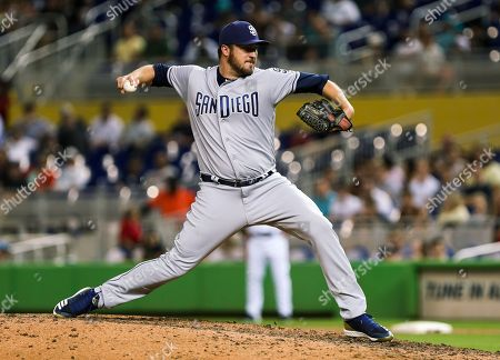Stock Picture of San Diego Padres relief pitcher Phil Hughes (59) delivers a pitch in the seventh inning during a MLB game between the San Diego Padres and the Miami Marlins at the Marlins Park, in Miami, Florida. The Marlins won 4-0