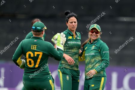 Stock Picture of Marizanne App celebrates taking the wicket of Heather Knight with Mignon Du Preez