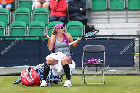 Anastasia Rodionova (AUS) protests a line call during a changeover at the 2018 Nature Valley Open at Nottingham Tennis Centre, Nottingham. Rodionova lost in the Women's Singles qualifying to Danielle Lao (USA) in straight sets. Picture by Katy Blackwood