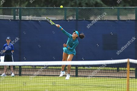 Stock Image of Qualifying top seed Saisai Zheng (CHN) serves during her Women's Singles qualifying match against Alla Kudryavtseva (RUS) at the 2018 Nature Valley Open at Nottingham Tennis Centre, Nottingham. Picture by Katy Blackwood