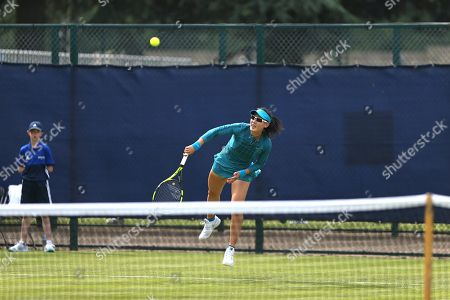 Qualifying top seed Saisai Zheng (CHN) serves during her Women's Singles qualifying match against Alla Kudryavtseva (RUS) at the 2018 Nature Valley Open at Nottingham Tennis Centre, Nottingham. Picture by Katy Blackwood