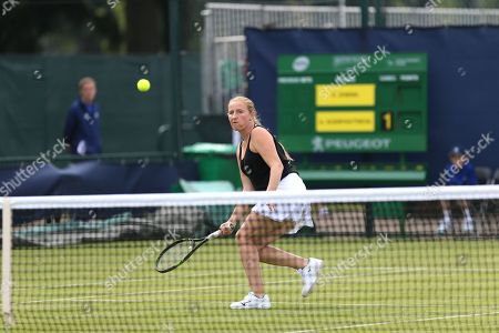 Stock Picture of Alla Kudryavtseva (RUS) lines up a shot at the 2018 Nature Valley Open at Nottingham Tennis Centre, Nottingham. Picture by Katy Blackwood