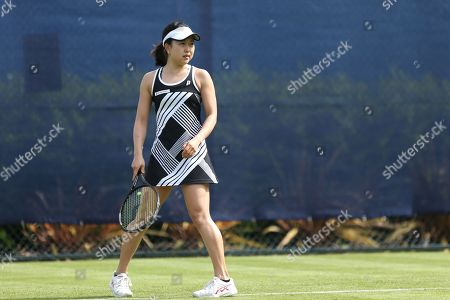 Miharu Imanishi (JPN) in action during her Women's Singles qualifying loss to Tara Moore (GBR) at the 2018 Nature Valley Open at Nottingham Tennis Centre, Nottingham. Picture by Katy Blackwood