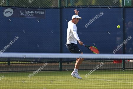 Jack Findel-Hawkins (GBR) in action during the first set of his Men's Singles qualifying match against Illya Marchenko (UKR) at the 2018 Nature Valley Open at Nottingham Tennis Centre, Nottingham. Findel-Hawkins lost the first set but pulled it back in the next to take their match to a decider. Picture by Katy Blackwood