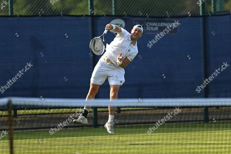 Jack Findel-Hawkins (GBR) serves during his Men's Singles qualifying match against Illya Marchenko (UKR) at the 2018 Nature Valley Open at Nottingham Tennis Centre, Nottingham. Picture by Katy Blackwood