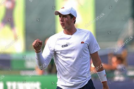 Jack Findel-Hawkins (GBR) celebrates a won point during his Men's Singles qualifying match against Illya Marchenko (UKR) at the 2018 Nature Valley Open at Nottingham Tennis Centre, Nottingham. Picture by Katy Blackwood