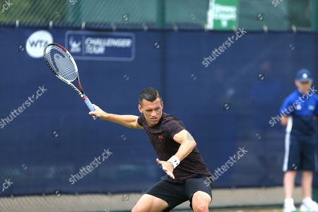 Tobias Kamke (GER) plays a shot during Men's Singles qualifying at the 2018 Nature Valley Open at Nottingham Tennis Centre, Nottingham. Picture by Katy Blackwood