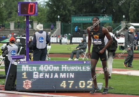 Rai Benjamin of USC ties Edwin Moses as the second-fastest man in world and U.S. history in the 400 meter Hurdles at the NCAA Track & Field Championships at Historic Hayward Field, Eugene, OR. Larry C