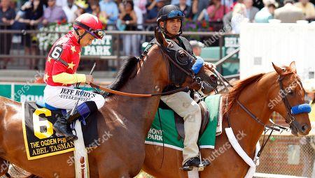 ABEL TASMAN (Mike Smith) before winning The Ogden Phipps Stakes Belmont Park