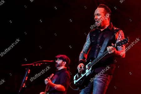 Michael Poulsen, right, and  Rob Caggiano, left, of Danish rock band Volbeat, perform on the main stage (Jungfrau stage), during the Greenfield Openair Festival in Interlaken, Switzerland, 09 June 2018 (issued 10 June). The festival runs from 07 to 09 June.