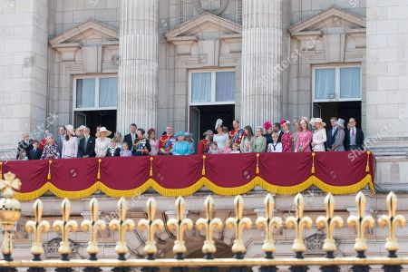 Lord Frederick Windsor, Lady Lord Frederick Windsor, Princess Michael of Kent, Duke of Kent, Princess Anne, Princess Beatrice, Prince Andrew, Camilla Duchess of Cornwall, Queen Elizabeth II, Prince Charles, Meghan Duchess of Sussex, Prince Harry, Catherine Duchess of Cambridge, Prince William, Princess Charlotte, Prince George on the balcony at Buckingham Palace
