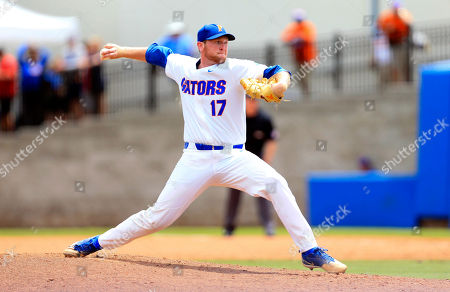 Florida pitcher Michael Byrne throws against Auburn during the ninth inning of an NCAA Super Regional college baseball game, in Gainesville, Fla. Florida defeated Auburn 8-2