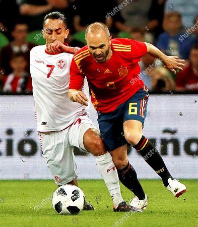 Andres Iniesta and Saif-Eddine Khaoui