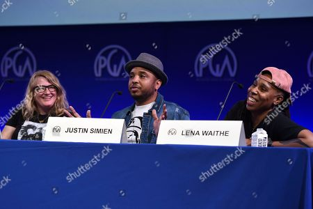 Mel Eslyn, Justin Simien, Lena Waithe. From left, Mel Eslyn, Justin Simien and Lena Waithe attend the first day of the 10th Annual Produced By Conference at Paramount Pictures on in Los Angeles