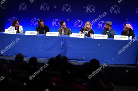 Marcy Ross, Nnamdi Asomugha, Dan Bucatinsky, Mel Eslyn, Justin Simien, Lena Waithe. From left, Marcy Ross, Nnamdi Asomugha, Dan Bucatinsky, Mel Eslyn, Justin Simien and Lena Waithe attend the first day of the 10th Annual Produced By Conference at Paramount Pictures on in Los Angeles