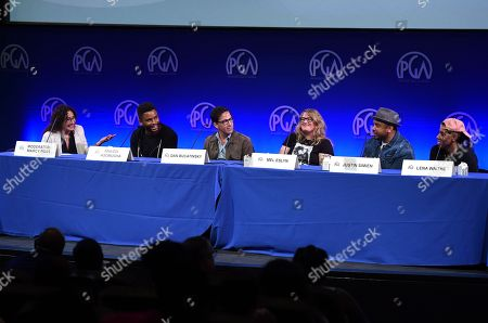 Stock Photo of Marcy Ross, Nnamdi Asomugha, Dan Bucatinsky, Mel Eslyn, Justin Simien, Lena Waithe. From left, Marcy Ross, Nnamdi Asomugha, Dan Bucatinsky, Mel Eslyn, Justin Simien and Lena Waithe attend the first day of the 10th Annual Produced By Conference at Paramount Pictures on in Los Angeles
