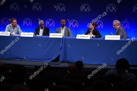 Ashok Amritraj, Charles D. King, Jessica Lacy, Bill Mechanic, Gary Lucchesi. From left, Ashok Amritraj, Charles D. King, Jessica Lacy, Bill Mechanic and Gary Lucchesi attend the first day of the 10th Annual Produced By Conference at Paramount Pictures on in Los Angeles