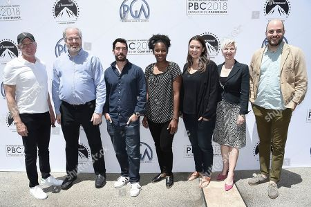 Stock Picture of David Lancaster, Mitch Gross, Johnny Derango, Mel Jones, Laura Florence, Rachel Klein, Jordan Horowitz. David Lancaster, from left, Mitch Gross, Johnny Derango, Mel Jones, Laura Florence, Rachel Klein and Jordan Horowitz attends the first day of the 10th Annual Produced By Conference at Paramount Studios, in Los Angeles
