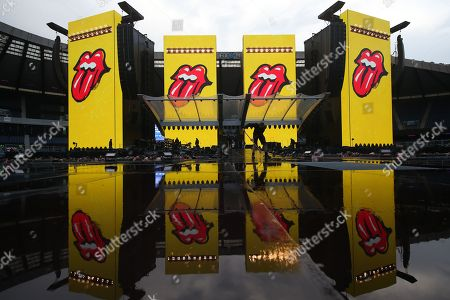 The Rolling Stones - Stage set reflected in the rain