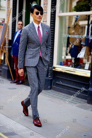 Model Hu Bing on Jermyn Street London Fashion Week Men's