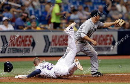 Daniel Robertson, Kyle Seager. Tampa Bay Rays' Daniel Robertson goes face first into third base ahead of the throw to Seattle Mariners third baseman Kyle Seager on a double by Matt Duffy off pitcher Roenis Elias during the seventh inning of a baseball game, in St. Petersburg, Fla