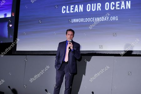 Stock Picture of Oceanographer Fabien Cousteau during a panel discussion held on the occasion of World Oceans Day.