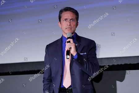 Stock Photo of Oceanographer Fabien Cousteau during a panel discussion held on the occasion of World Oceans Day.