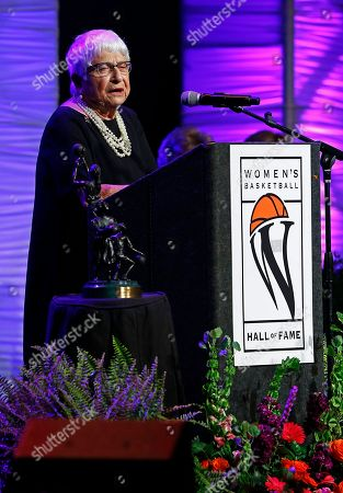 Dr. Rose Marie Battaglia speaks during induction ceremonies into the Women's Basketball Hall of Fame, in Knoxville, Tenn