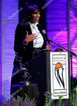 Tina Thompson speaks during induction ceremonies into the Women's Basketball Hall of Fame, in Knoxville, Tenn