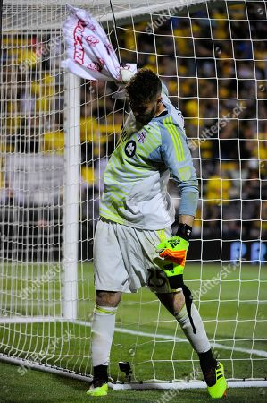 Toronto FC goalkeeper Alex Bono (25) is angry after allowing 3 goals in the second half of the match between Toronto FC and Columbus Crew SC at MAPFRE Stadium, in Columbus OH. Mandatory Photo Credit: Dorn Byg/Cal Sport Media. ..Final Score: Columbus Crew SC 3 - Toronto FC 3