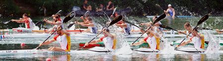 Spanish sprint canoeists Saul Craviotto (L) Cristian Toro (2-L), Marcus Walz (2-R) and Rodrigo Germade (R) in action during the Final A K4 Men 500m race at the Canoe Sprint European Championships in Belgrade, Serbia, 10 June 2018.