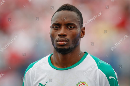 Senegal's Diafra Sakho listens to national anthem ahead of a friendly soccer match between Croatia and Senegal in Osijek, Croatia