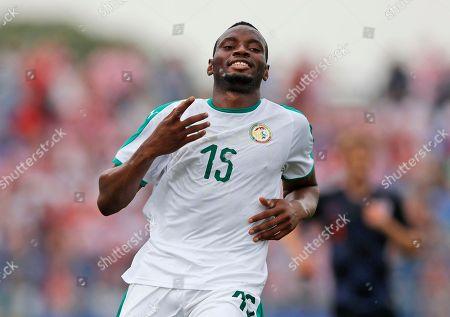 Stock Picture of Senegal's Diafra Sakho runs during a friendly soccer match between Croatia and Senegal in Osijek, Croatia