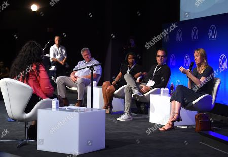 Chris Moore, Rose Catherine Pinkney, Michael Seitzman, Lynette Howell Taylor, Vance Van Petten. Vance Van Petten, Chris Moore, Rose Catherine Pinkney, Michael Seitzman and Lynette Howell Taylor listen to pitches during the second day of the 10th Annual Produced By Conference at Paramount Pictures on in Los Angeles