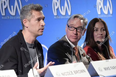 Mike Farah, Paul Feig, Stacy Rukeyser. Mike Farah, from left, Paul Feig and Stacy Rukeyser attend the second day of the 10th Annual Produced By Conference at Paramount Studios, in Los Angeles