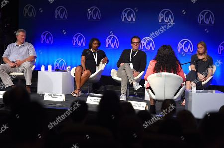 Stock Image of Chris Moore, Rose Catherine Pinkney, Michael Seitzman, Lynette Howell Taylor. Chris Moore, Rose Catherine Pinkney, Michael Seitzman and Lynette Howell Taylor listen to pitches during the second day of the 10th Annual Produced By Conference at Paramount Pictures on in Los Angeles