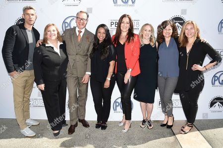 Stock Image of Mike Farah, Gail Berman, Paul Feig, Nicole Brown, Stacy Rukeyser, Susan Sprung, Nancy Solomon, Rachel Shane. Mike Farah, from left, Gail Berman, Paul Feig, Nicole Brown, Stacy Rukeyser, Susan Sprung, Nancy Solomon and Rachel Shane attend the second day of the 10th Annual Produced By Conference at Paramount Studios, in Los Angeles