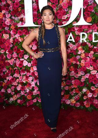 Jenna Ushkowitz arrives at the 72nd annual Tony Awards at Radio City Music Hall, in New York