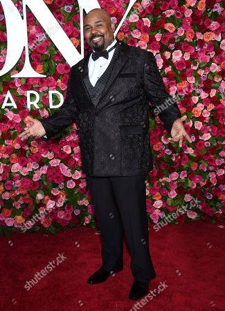 James Monroe Iglehart arrives at the 72nd annual Tony Awards at Radio City Music Hall, in New York