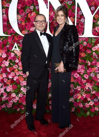 Colin Callender, Elizabeth Callender. Colin Callender, left, and Elizabeth Callender arrive at the 72nd annual Tony Awards at Radio City Music Hall, in New York