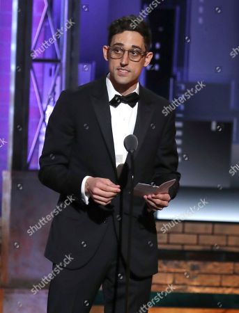 "Justin Peck accepts the award for best choreography for ""Rodgers & Hammerstein's Carousel"" at the 72nd annual Tony Awards at Radio City Music Hall, in New York"
