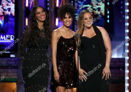 """Amanda Sudano, Brooklyn Sudano, Mimi Sommer. Amanda Sudano, from left, Brooklyn Sudano and Mimi Sommer introduce a performance by the cast of """"Summer: The Donna Summer Musical"""" at the 72nd annual Tony Awards at Radio City Music Hall, in New York"""